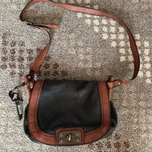 Fossil black/brown leather crossbody
